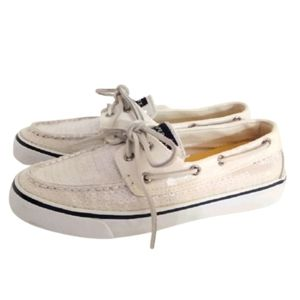 Sperry Canvas Top Siders Bahama White Sequins 6.5M